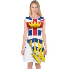 Flag Map Of British Columbia Capsleeve Midi Dress