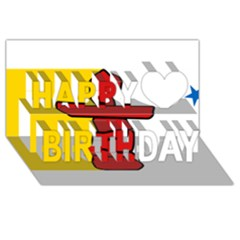 Flag Of Nunavut  Happy Birthday 3d Greeting Card (8x4)