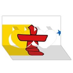 Flag Of Nunavut  Twin Hearts 3d Greeting Card (8x4)