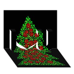 Sparkling Christmas tree I Love You 3D Greeting Card (7x5)