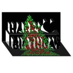 Sparkling Christmas Tree Happy Birthday 3d Greeting Card (8x4)
