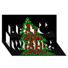 Sparkling Christmas tree Best Wish 3D Greeting Card (8x4)