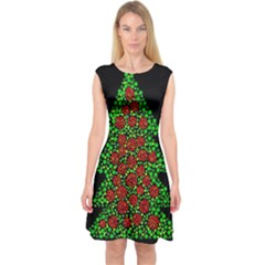 Sparkling Christmas tree Capsleeve Midi Dress