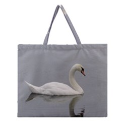 Swimming white Swan Zipper Large Tote Bag