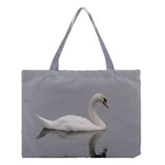 Swimming white Swan Medium Tote Bag