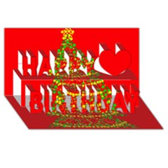 Sparkling Christmas tree - red Happy Birthday 3D Greeting Card (8x4)