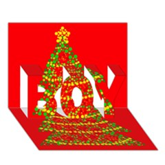 Sparkling Christmas tree - red BOY 3D Greeting Card (7x5)
