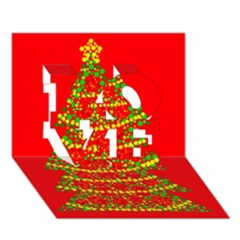 Sparkling Christmas tree - red LOVE 3D Greeting Card (7x5)