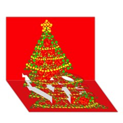 Sparkling Christmas tree - red LOVE Bottom 3D Greeting Card (7x5)