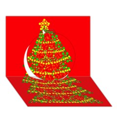 Sparkling Christmas tree - red Circle 3D Greeting Card (7x5)
