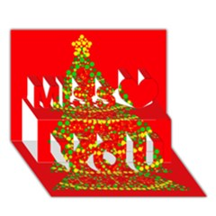 Sparkling Christmas Tree   Red Miss You 3d Greeting Card (7x5)