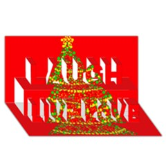 Sparkling Christmas tree - red Laugh Live Love 3D Greeting Card (8x4)