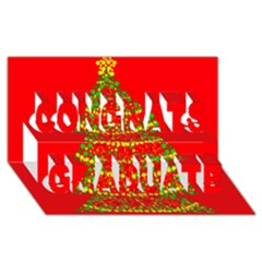 Sparkling Christmas tree - red Congrats Graduate 3D Greeting Card (8x4)