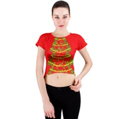 Sparkling Christmas tree - red Crew Neck Crop Top