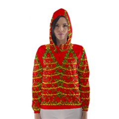 Sparkling Christmas tree - red Hooded Wind Breaker (Women)