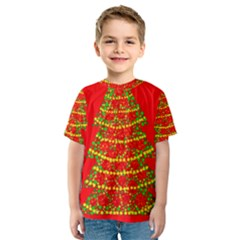 Sparkling Christmas tree - red Kids  Sport Mesh Tee
