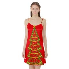 Sparkling Christmas tree - red Satin Night Slip