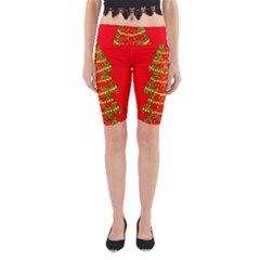 Sparkling Christmas Tree   Red Yoga Cropped Leggings