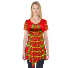 Sparkling Christmas tree - red Short Sleeve Tunic