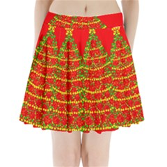 Sparkling Christmas tree - red Pleated Mini Skirt