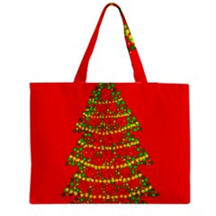 Sparkling Christmas tree - red Medium Zipper Tote Bag