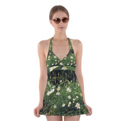 Wild Daisy Summer Flowers Halter Swimsuit Dress