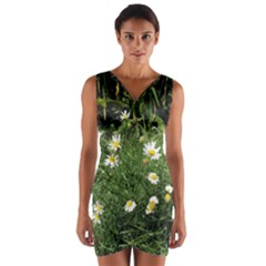 Wild Daisy summer Flowers Wrap Front Bodycon Dress