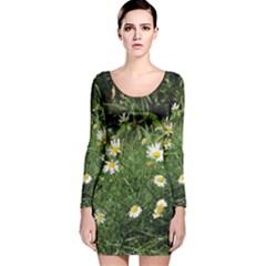 Wild Daisy summer Flowers Long Sleeve Velvet Bodycon Dress