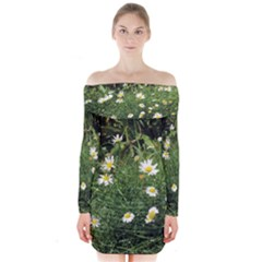 Wild Daisy summer Flowers Long Sleeve Off Shoulder Dress
