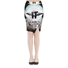 The World Comes Crashing Down Midi Wrap Pencil Skirt