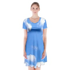 Summer Clouds And Blue Sky Short Sleeve V Neck Flare Dress