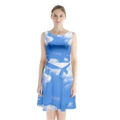 Summer Clouds And Blue Sky Sleeveless Chiffon Waist Tie Dress
