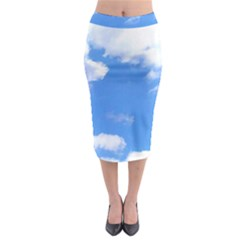 Summer Clouds And Blue Sky Midi Pencil Skirt