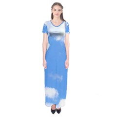 Summer Clouds And Blue Sky Short Sleeve Maxi Dress