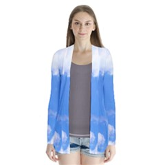 Summer Clouds And Blue Sky Drape Collar Cardigan