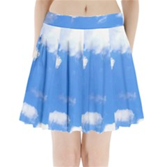 Summer Clouds And Blue Sky Pleated Mini Skirt