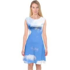 Summer Clouds and blue sky Capsleeve Midi Dress