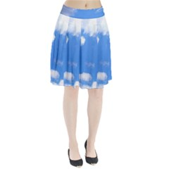 Summer Clouds and blue sky Pleated Skirt