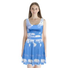 Summer Clouds And Blue Sky Split Back Mini Dress