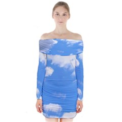 Summer Clouds and blue sky Long Sleeve Off Shoulder Dress
