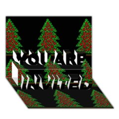 Christmas trees pattern YOU ARE INVITED 3D Greeting Card (7x5)