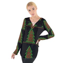 Christmas Trees Pattern Women s Tie Up Tee
