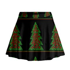 Christmas Trees Pattern Mini Flare Skirt