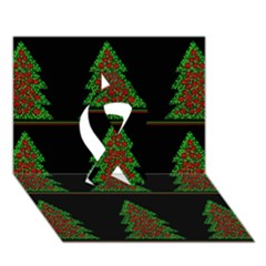 Christmas trees pattern Ribbon 3D Greeting Card (7x5)