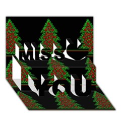 Christmas trees pattern Miss You 3D Greeting Card (7x5)