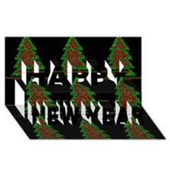 Christmas trees pattern Happy New Year 3D Greeting Card (8x4)
