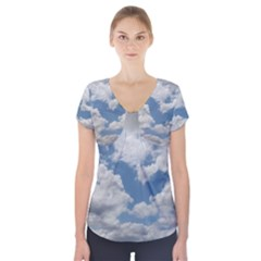 Breezy Clouds in the sky Short Sleeve Front Detail Top