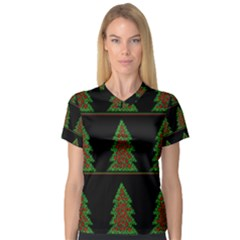 Christmas trees pattern Women s V-Neck Sport Mesh Tee