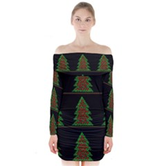 Christmas trees pattern Long Sleeve Off Shoulder Dress