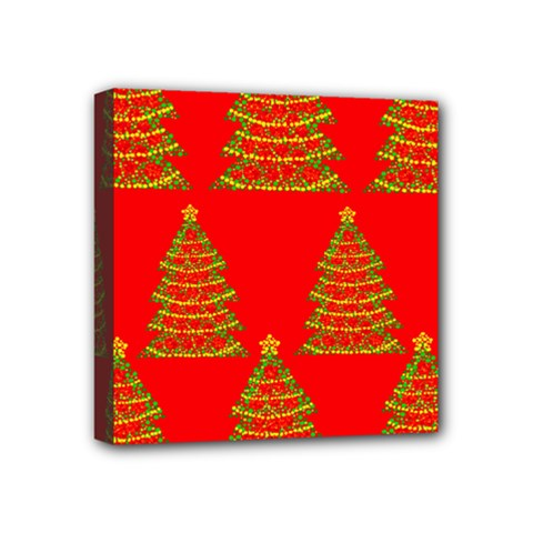 Christmas trees red pattern Mini Canvas 4  x 4